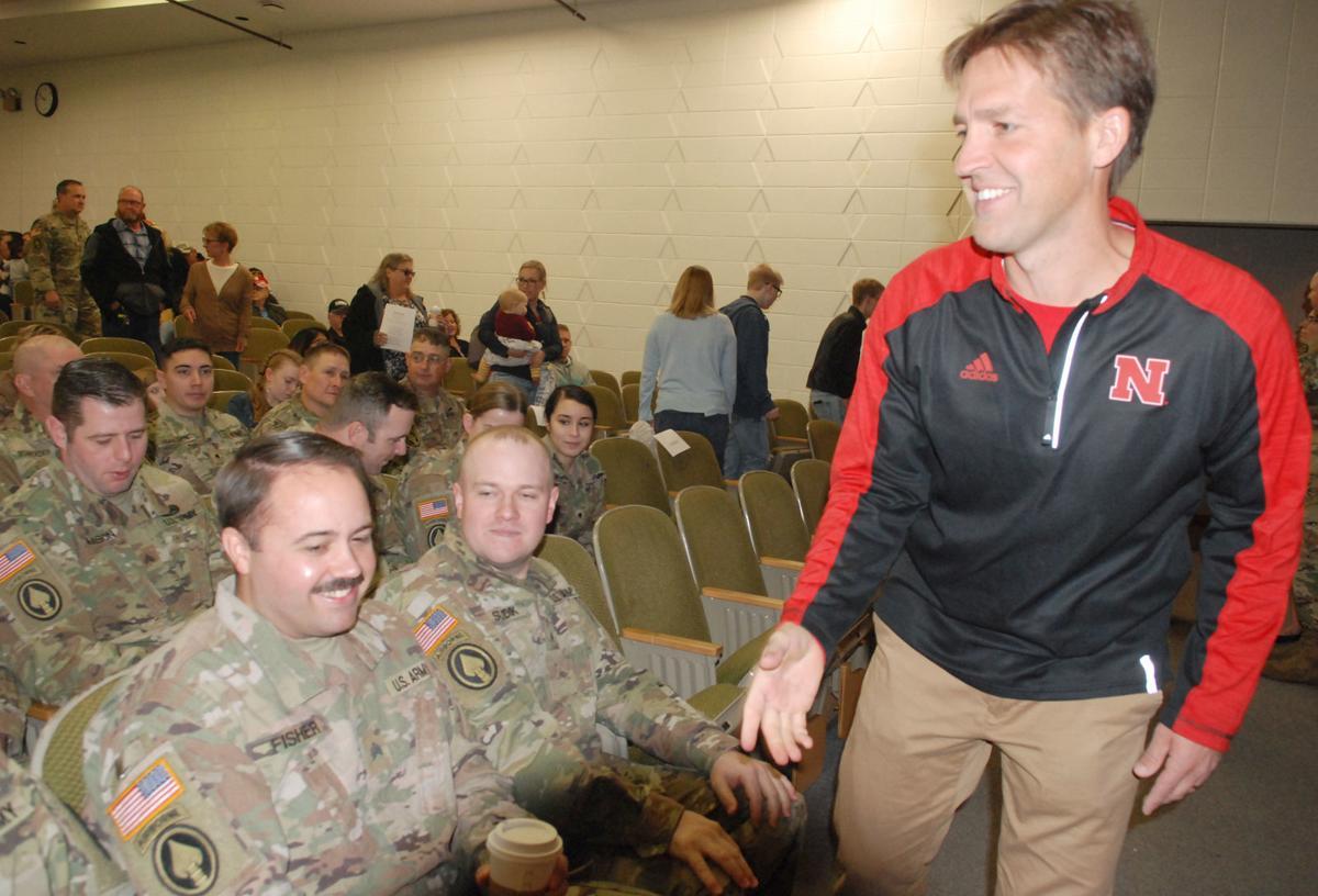 Ben Sasse greeting soldiers