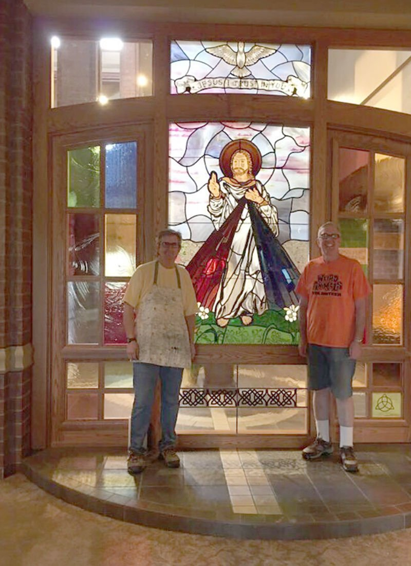 Divine Mercy window in chapel at St. Patrick's