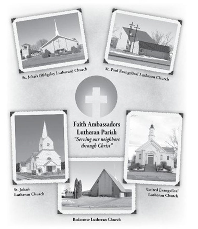 Artwork of five churches