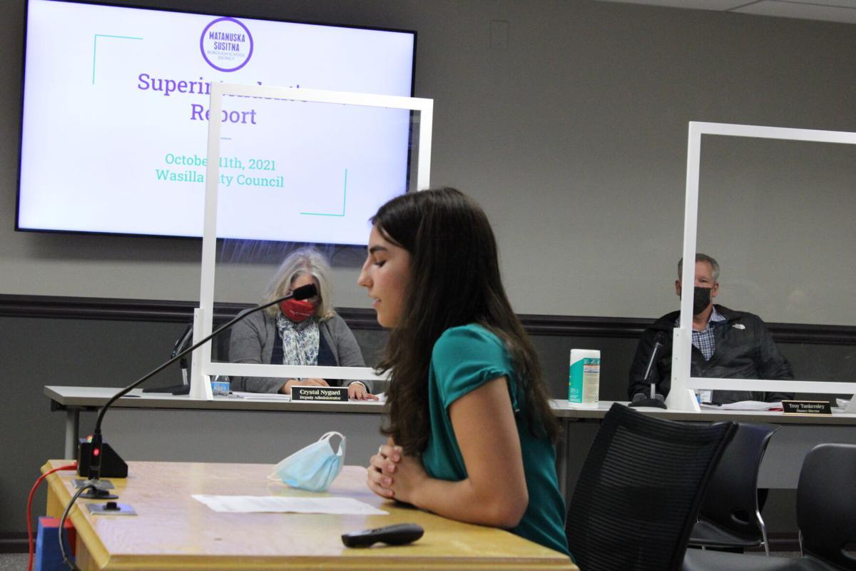 Wasilla High School student representative Amanda Jimenez
