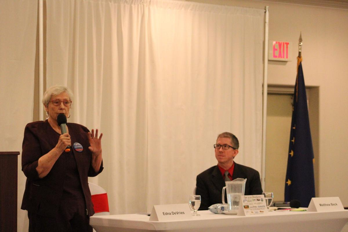 Edna DeVries speaks during the Borough Mayoral forum at Evangelo's on Tuesday afternoon
