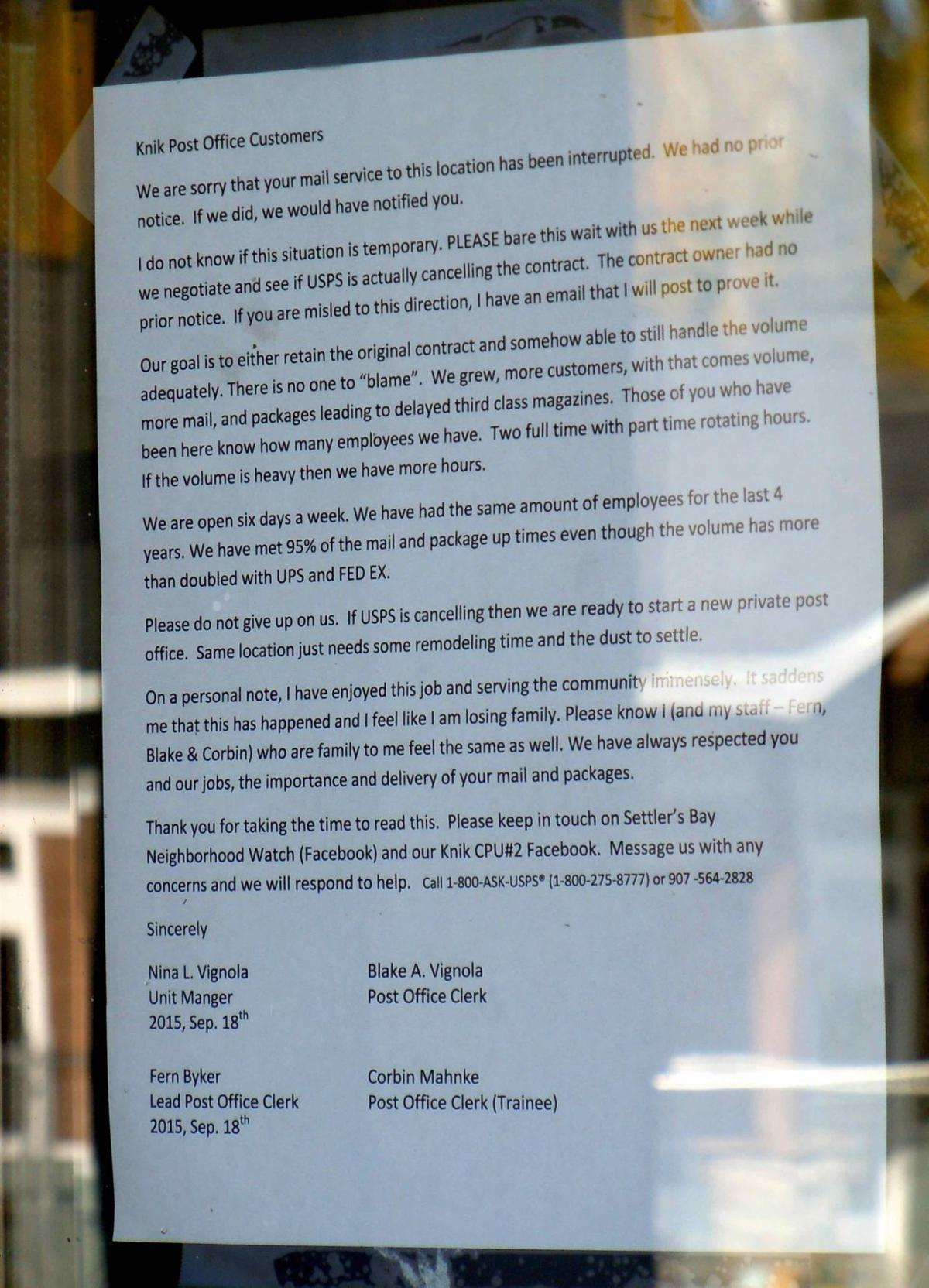 Settlers Bay post office abruptly closes