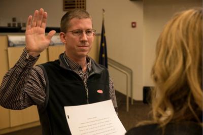 Matthew Beck is sworn into office in 2016