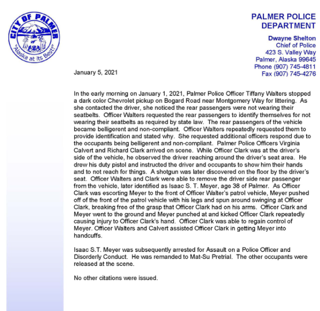 Palmer Police Department Press Release
