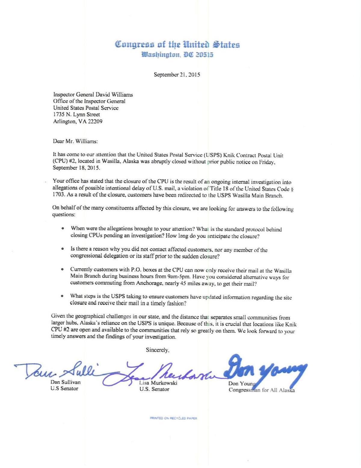 USPS AK Delegation Letter     frontiersman com