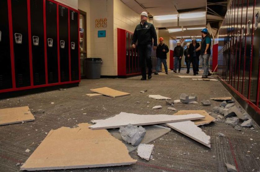 Governor Dunleavy tours Houston Middle School post-earthquake