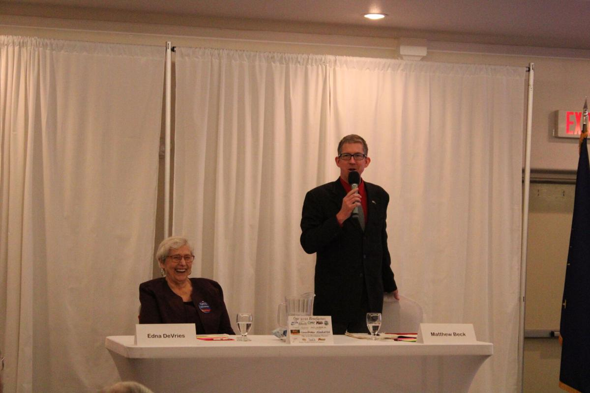 Matthew Beck speaks during the Borough Mayoral forum at Evangelo's on Tuesday afternoon