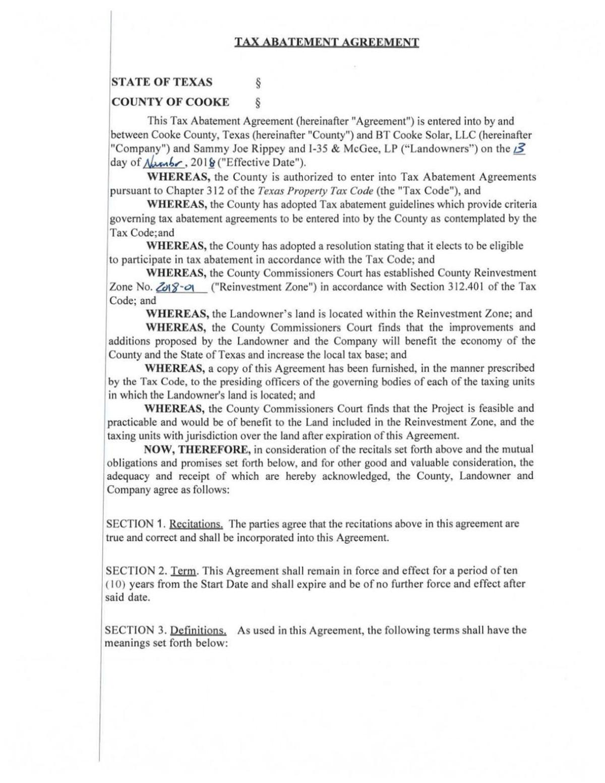 PDF: BT Cooke (Rippey Solar) tax abatement agreement