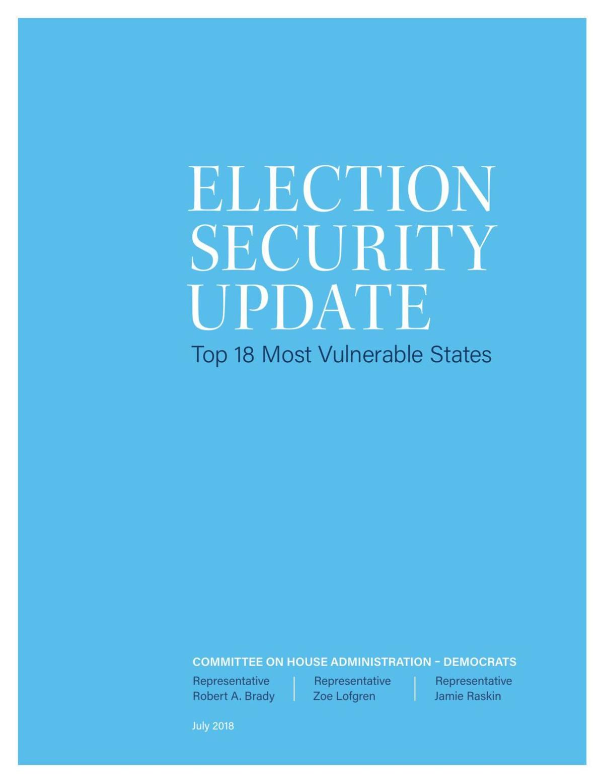 Election Security Update - July 2018