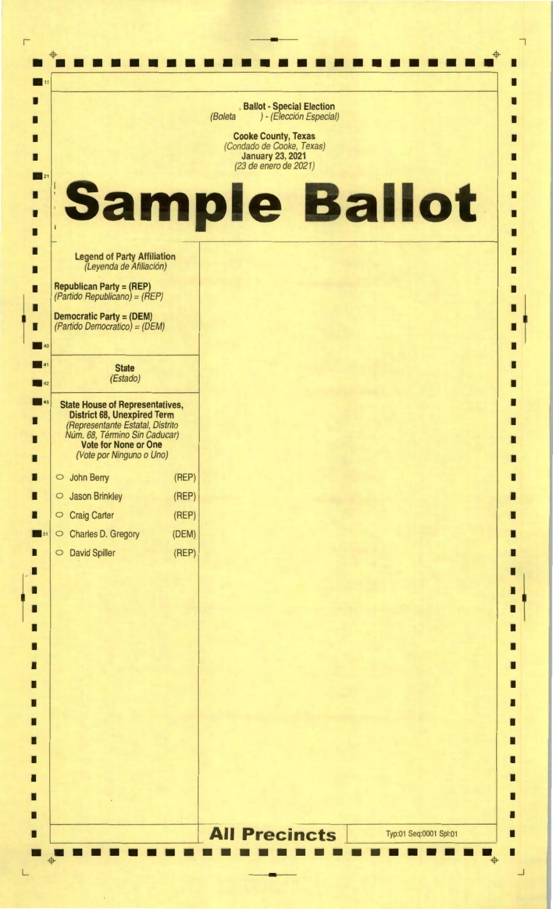 PDF: Sample ballot for Jan. 23, 2021 HD-68 special election