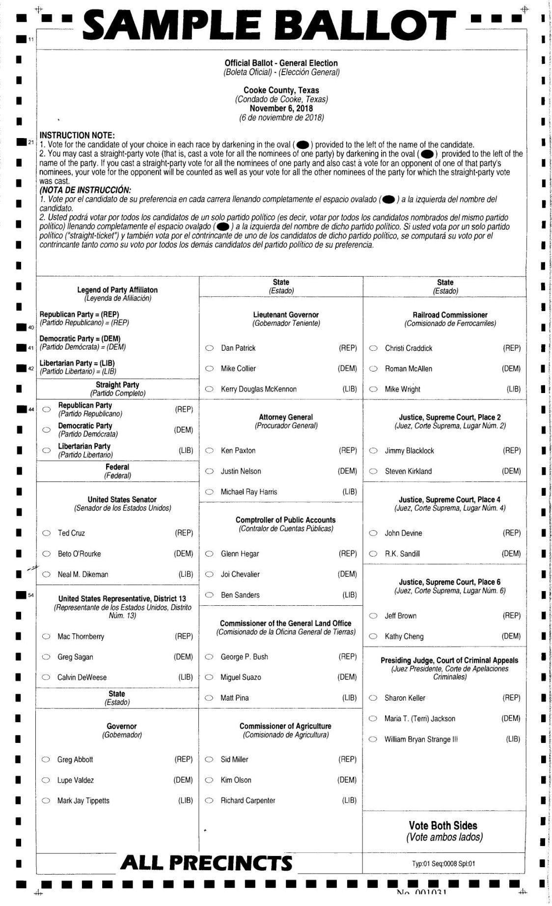 sample ballot for 2018 general election