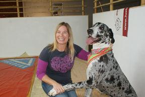 Manuela Reimann and her dog, Phoebe