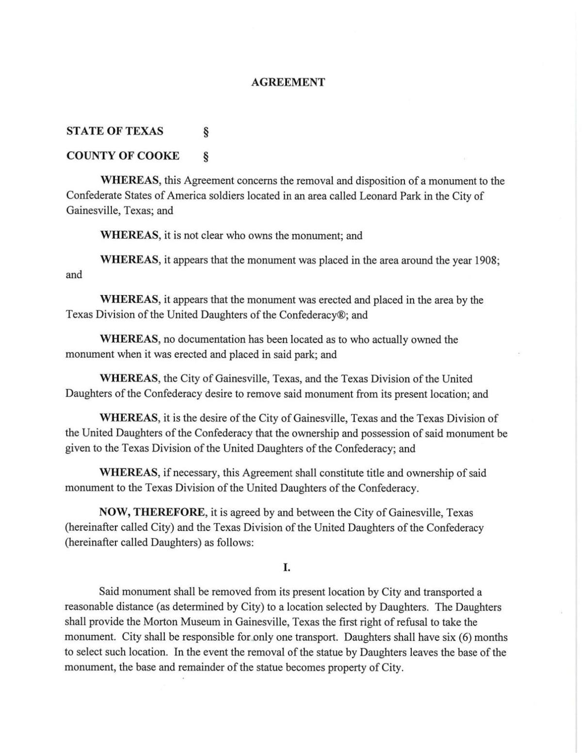 PDF: City contract with UDC regarding Confederate monument