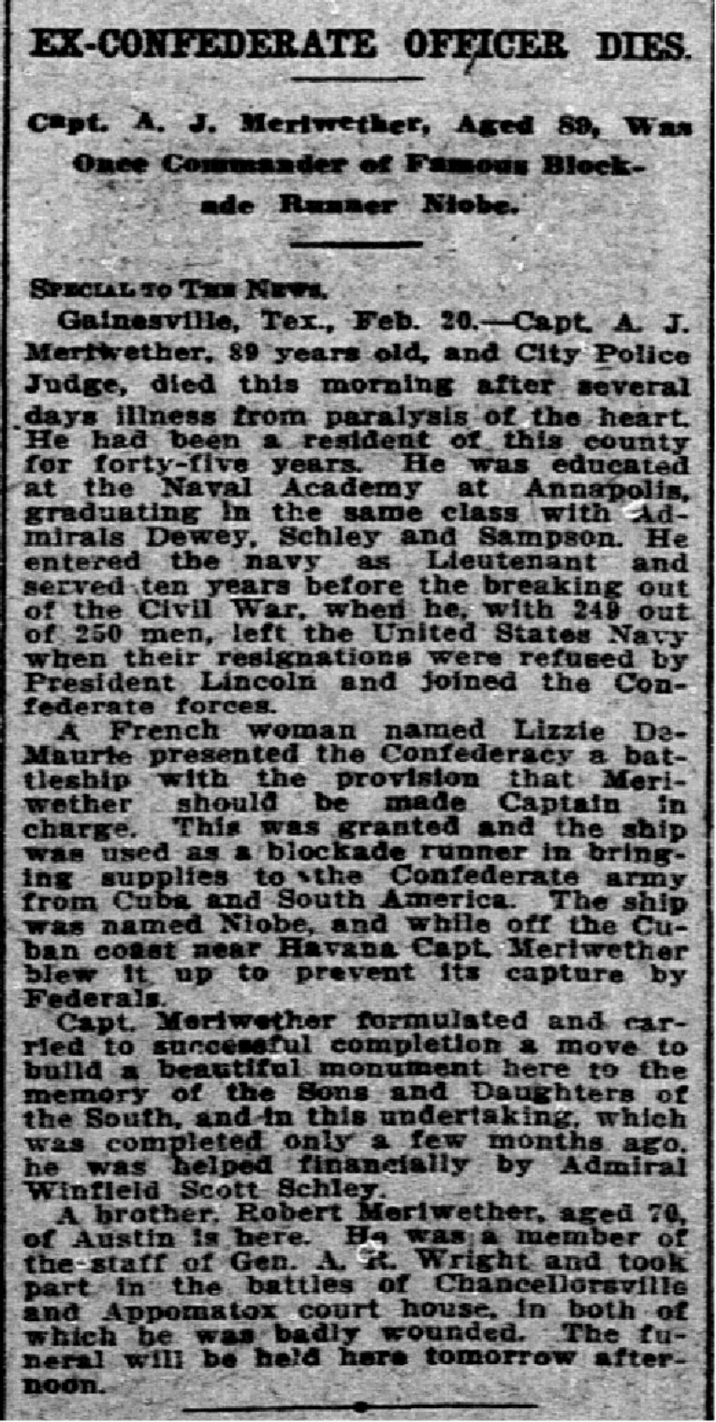 PDF: 'Ex-Confederate officer dies' published Feb. 21, 1912