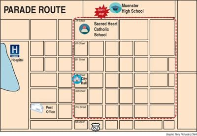 Map of Muenster grad parade route