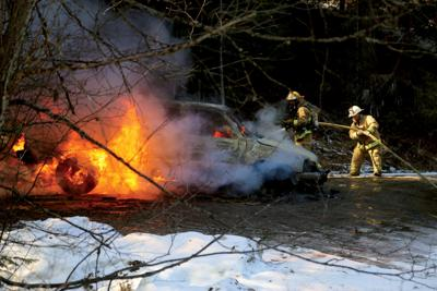 Pickup destroyed in vehicle fire Monday