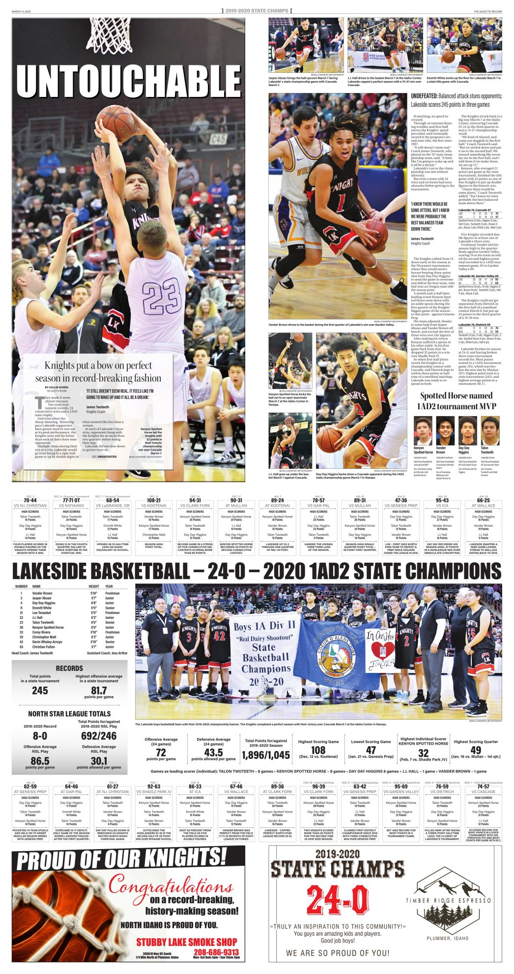 LAKESIDE KNIGHTS  [24-0]  1AD2 State Champions