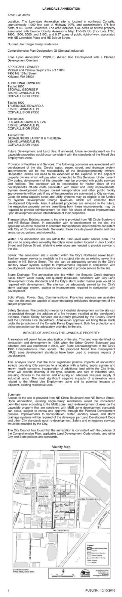 CITY OF CORVALLIS LEGALS