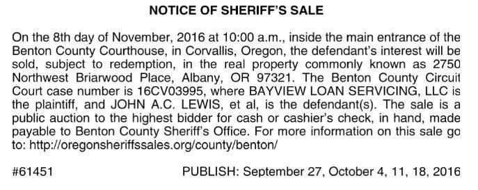 BENTON COUNTY SHERIFF/LEGAL