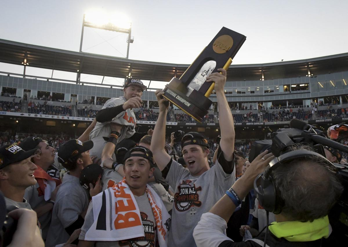 OSU Wins National Title trophy hoist