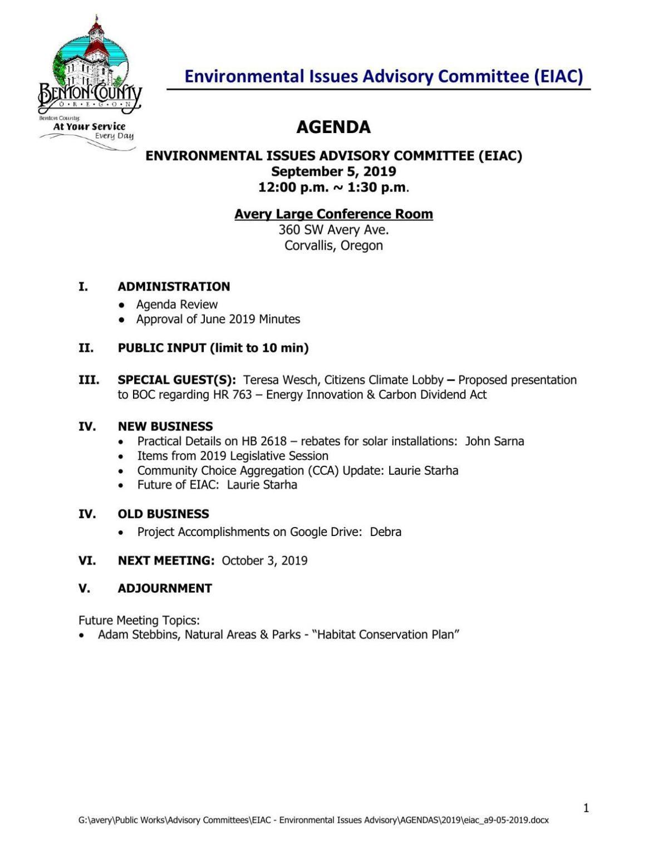 Environmental Issues Advisory Committee agenda (Sept. 5, 2019)