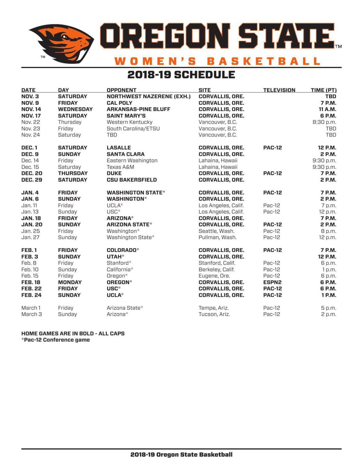 osu women's basketball 2018-19 schedule | | gazettetimes