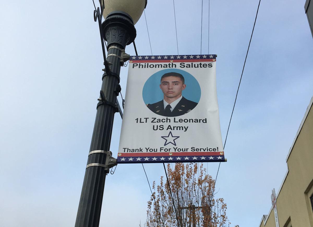 Philomath veterans banner: Zach Leonard