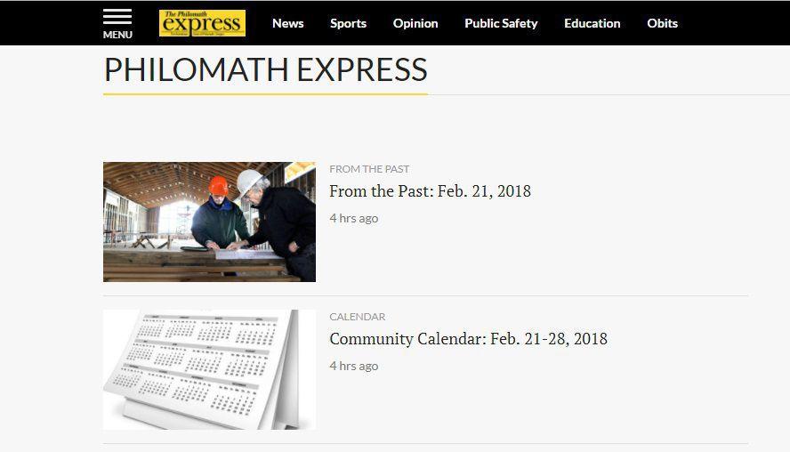 Philomath Express website