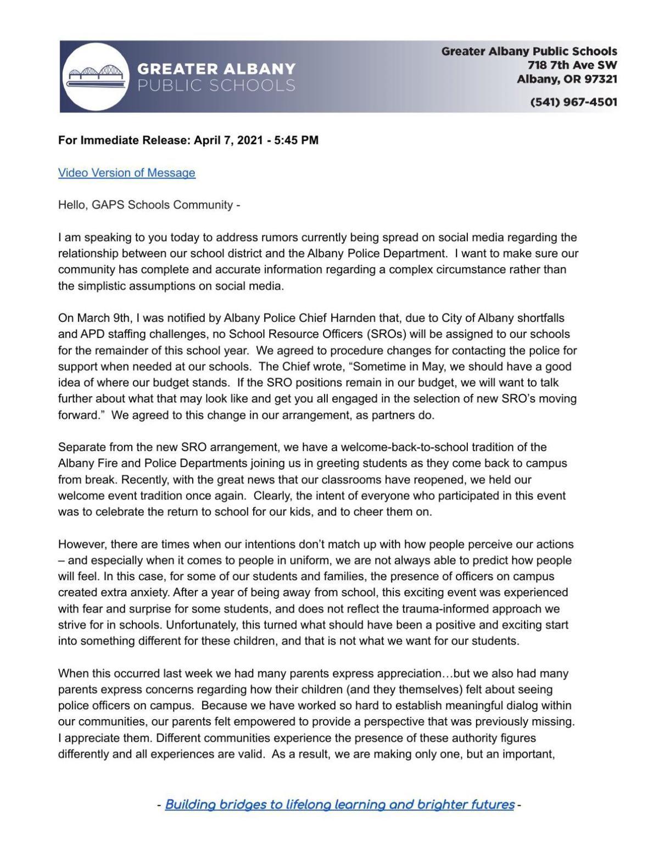 GAPS Statement - April 7, 2021