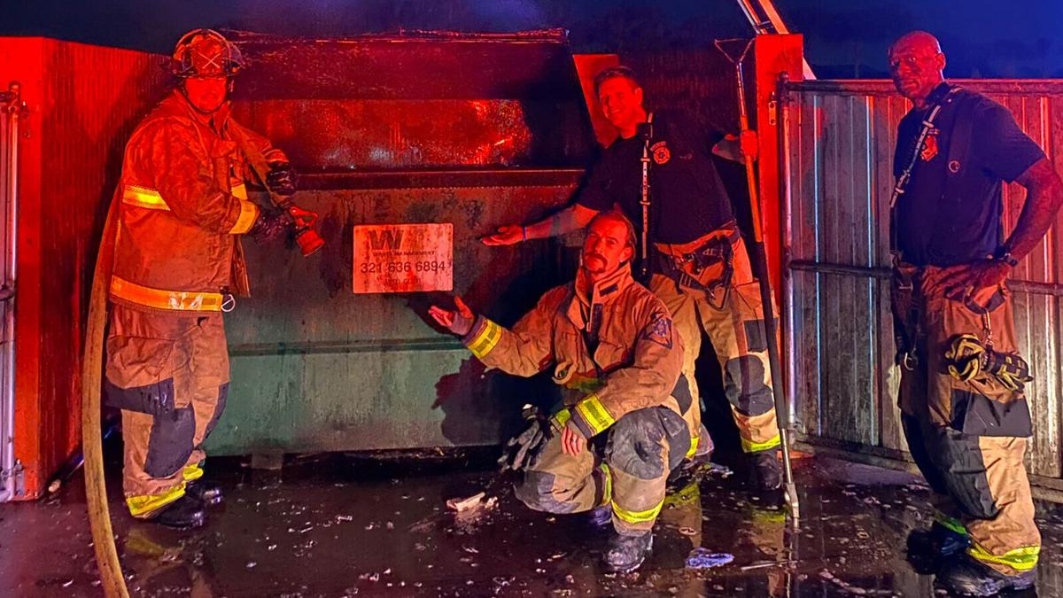 The last call of 2020 for this Florida fire department was literally a dumpster fire