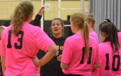 PHS volleyball: Team huddle
