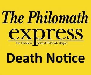 Philomath Express logo: Death Notice