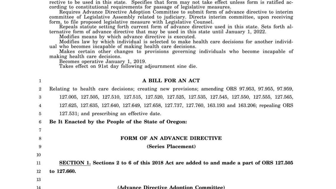 Editorial: Advance directive bill offers a step forward   Editorial ...