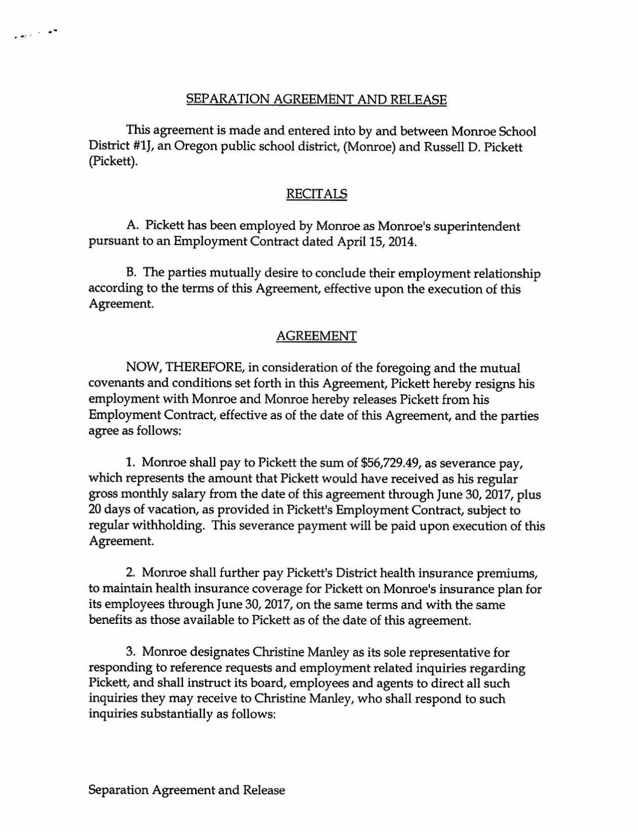 Perfect Download PDF Russ Pickett Separation Agreement