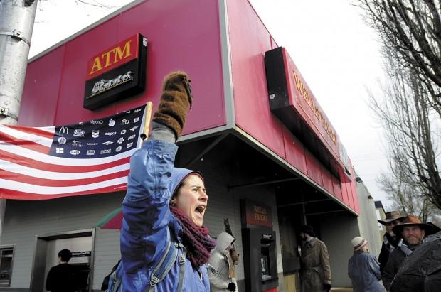 Protesters take aim at big banks