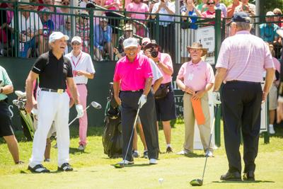 From left, Gary Player, Lee Trevino and Jack Nicklaus share a laugh at the 1st tee prior to the 3M Greats of Golf exhibition at The Woodlands Country Club on May 6, 2017, in The Woodlands, Texas. (Darren Carroll/Getty Images/TNS) **FOR USE WITH THIS STORY ONLY**