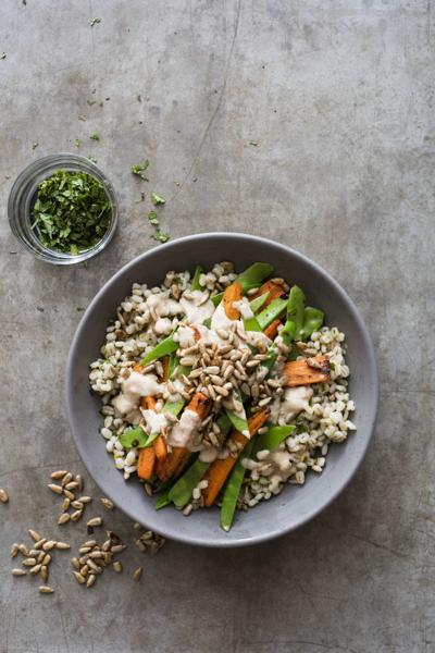 Chewy and nutty pearl barley stars in this hearty bowl dish