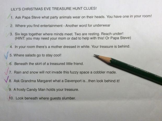 Christmas Scavenger Hunt Clues.Create Your Own Christmas Treasure Hunt Gazettetimes Com