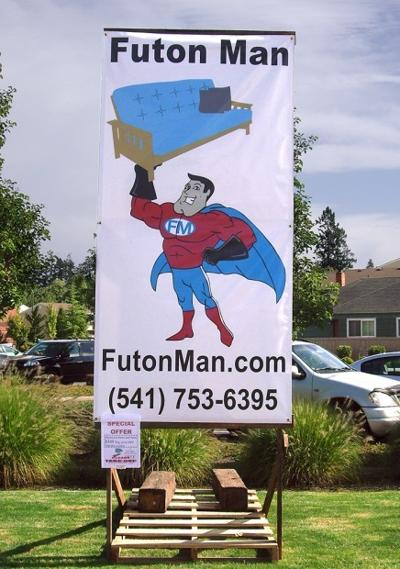 Some Time Early Saay Morning A Vandal Removed The Portable Futon Man Sign From Its Base Contributed Photo Provided
