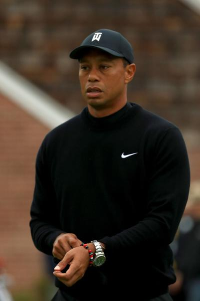 Tiger Woods of the United States looks on during a practice round prior to the 2019 PGA Championship at the Bethpage Black course on May 14, 2019 in Bethpage, N.Y.