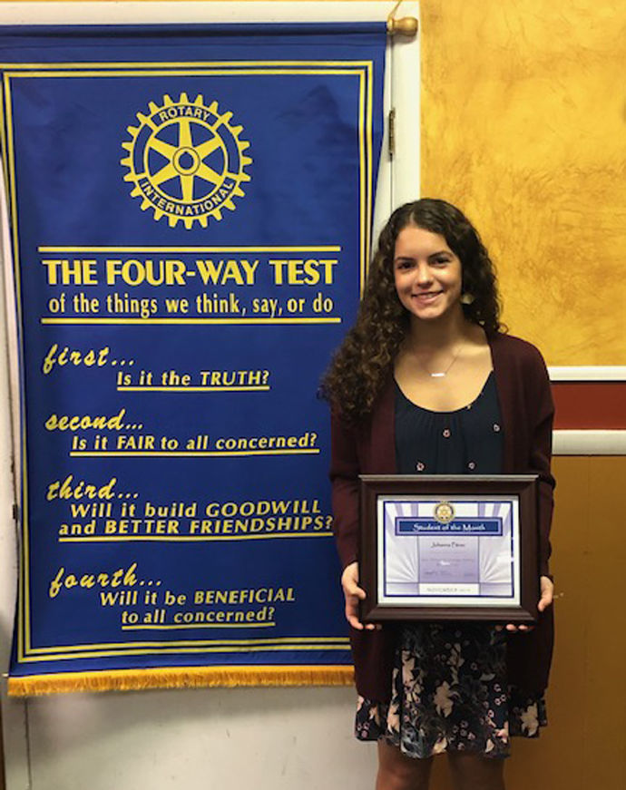 Johanna Pitner, Rotary Student of the Month