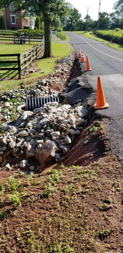 Spangler School Road pipe washed out