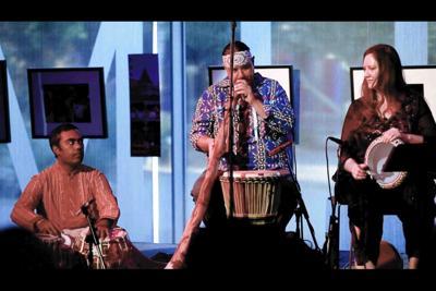 Shreyas Iyer on tabla, Andrew Ecker on percussion and Mayan trumpet and Elissa Nova on doumbek