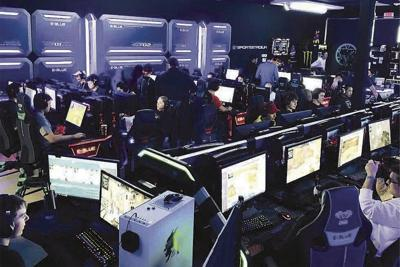 Some customers at Pure Esports