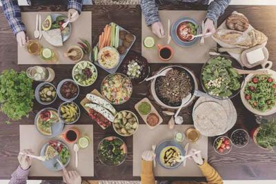 People eating healthy lunch