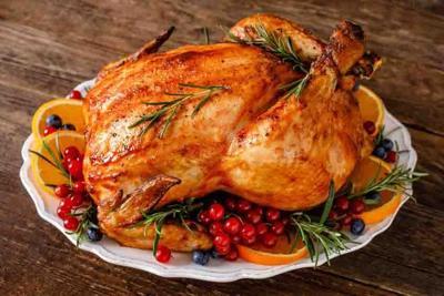 Christmas turkey. Traditional festive food for Christmas or Thanksgiving