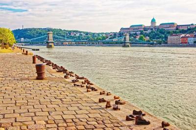 Holocaust Memorial Buda Castle and Chain Bridge Danube River Budapest