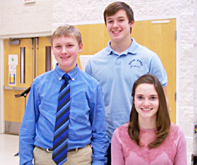 Pictured from left to rightEthan Raybourn, 12; Travis Dantzer, 15; and Chloe Danitz, 17.
