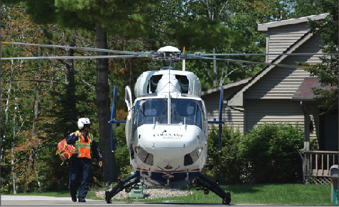 The helicopter landed in the cul-de-sac of Banbury Ct. in Sugar Springs.