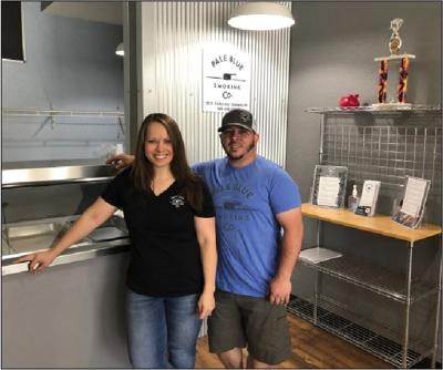 Becky and Brandon Hodgins in their new  restaurant.